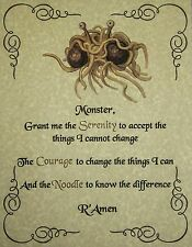 FSM Serenity Prayer 5 x 7 Pastafarian Flying Spaghetti Monster Atheist God FFRF