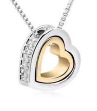 18K Gold Silver Plated HEART Swarovski Crystal Pendant Luxary Necklace