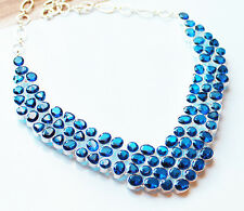 925 Sterling Silver and Sapphire Blue Crystal Statement Necklace