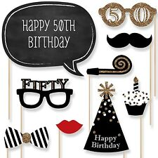 Adult 50th Birthday - Gold - Photo Booth Props Kit - 20 Count