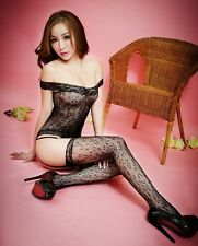 Sexxy Quality Leopard Print Suspenders Lace Edge Fishnet Bodystocking, Size 6-12