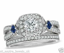 2.50 ct WHITE GOLD BLUE SAPPHIRE ENGAGEMENT RING WITH WEDDING BAND in 14ct