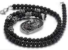 Men Chain Silver Lion Shield Pendant Stainless Steel Black Glass Bead Necklace