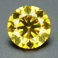 CERTIFIED .071 cts. Round Vivid Yellow Color VVS Loose Real/Natural Diamond 1E