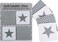 4 Glasuntersetzer Kork Untersetzer Bierdeckel Set Stern Sterne Star Tischdeko