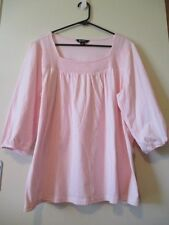 BeMe Ladies Lovely Pink Smock Cotton 3/4 Sleeves Casual Top Size M