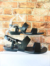 HUSH PUPPIES BLACK LEATHER STRAPPY SANDALS SIZE 5 WIDE FIT VERY GOOD SEPT04QQ