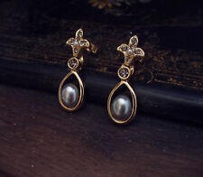 Vintage Crystal and Grey Pearl Drop Pierced Earrings