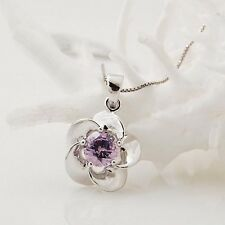 Perfect Gift 925 Sterling Silver Purple Amethyst Crystal Flower Pendant Necklace