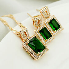 Emerald Square 18K Gold Filled Womens Earrings Pendant Chain Set Perfect Gift