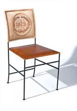 Stuhl Lederstuhl Metall Leder Canvas Braun Beige NEU