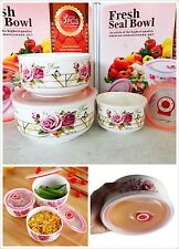 Deluxe Ceramic Bowl Container Set Food Storage Microwave Freezer Safe 3pce Gift