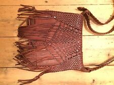 Vintage Warehouse Brown / Tan Leather Fringed Satchel Style Bag