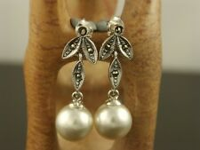 MARCASITE Sterling Silver Art Deco Style FRESHWATER PEARL Leaf Drop Earrings