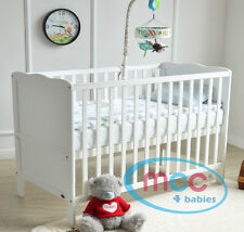 MCC Wooden Baby Cot Bed Toddler Bed Water repellent Mattress Made in UK