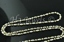 5.30 grams 18k solid 2 tone  gold diamond cut bead chain necklace 18 inches #577