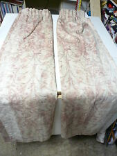 """One pair Vintage Pink and brown curtains Unlined by Wiltex 94""""w by 54""""d (each)"""