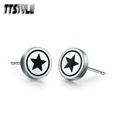 Mens TTstyle Stainless Steel Black Star Round Stud Earrings NEW Arrival