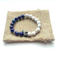 Elephant Bracelet (Blue) with Lapis Lazuli & Howlite Beads
