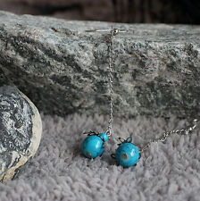 Silver Tone Leaves with Turquoise Glass Ball Beads Long Drop/Dangle Earrings