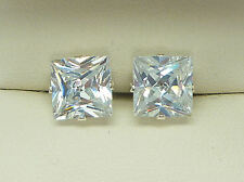 DIAMOND SILVER STUD EARRINGS SQUARE PRINCESS CUT 6MM CLEAR CREATED STONE