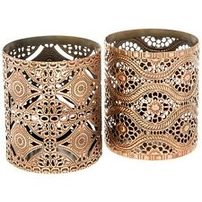Lovely Set Of 2 Copper Patterned Tea Light Candle Holders NEW