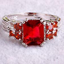 Wedding Emerald & Round Cut Pink Tourmaline & Garnet Gemstone Silver Ring Size 9