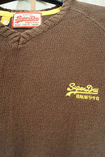 "SUPERDRY Brown Cotton Jumper V-Neck Sweater Raglan Sleeve Small Medium 35"" Chest"