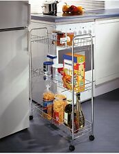 New 3 Tier Chrome Kitchen Slim Vegetable Fruit Food Storage Rack Trolley