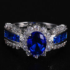 Size 8/Q Deluxe Jewelry Ladys Blue Tanzanite 10KT White Gold Filled Ring Gift