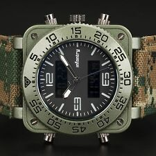 INFANTRY MENS LCD DIGITAL QUARTZ WRIST WATCH CHRONOGRAPH ARMY GREEN CAMO LEATHER