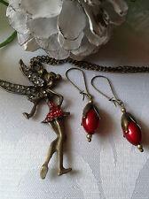 Elfen Schmuckset Fee Fairy Halskette Kette + Anhänger + Ohrringe Bronze Strass
