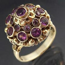 Bold & Dramatic Tiered 17 AMETHYST 12k Solid Yellow GOLD CLUSTER RING Sz M1/2