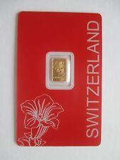 """1g Goldbarren, Pamp Suisse, """"Enzian"""", 999,9/1000 Fine Gold, im Blister !!"""