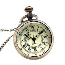 Vintage Pocket Watch With Chain Bronze Antique Quartz Steampunk Best Man Gift