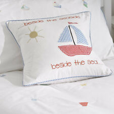 Gorgeous Seaside Nautical Boat Cushion Blue Red Gingham Embroidered 100% Cotton