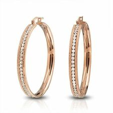 Bling Jewelry Stardust Finish Rose Gold Plated Steel CZ Hoop Earring