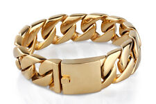 20mm 316L Stainless Steel Men's Curb Chain punk  Bracelet 18K gold plated K43