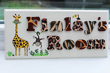 Children's wooden jungle themed bedroom door sign / name plaque: animal print