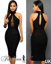 Ladies Women Midi Dress Black Celeb Party Bodycon Evening Pencil UK Size 8 10 S'