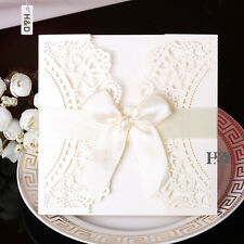 12 PCS Ivory Wedding Invitations Cards Party Favor Ribbon Bow Blank Inner Cards