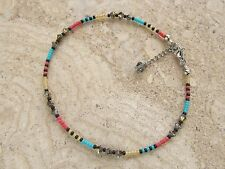 Multi Colour Seed Bead and Swarovski Crystal Beaded Extension Anklet