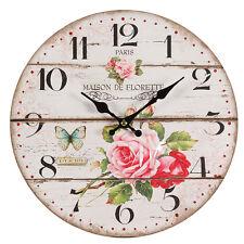 Wanduhr Uhr Roses ROSEN Shabby Vintage Cottage Uhr 28cm Paris Maison de Florette