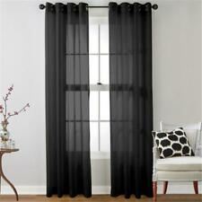 Black Voile Sheer Curtain Panel Window Balcony Tulle Room Divider Valances GL