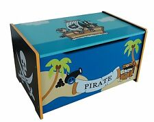PIRATE THEMED KIDS CHILDRENS WOODEN TOY BOX BENCH STORAGE BOX * BRAND NEW *