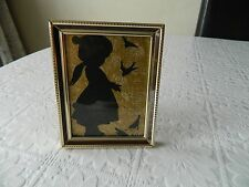 Vintage silhouette picture wall plaque/ hanging of a girl