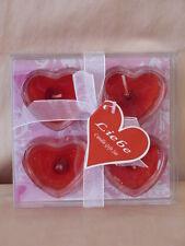 4 Gel Duft Kerzen in Herzform, Liebe, in Geschenkverpackung, neu