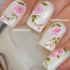 Nails Nail Art Water Transfers Decals Wraps Pink Rose Flower Y20 Wedding