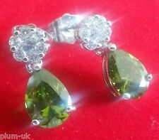 M03 White gold gf earrings green PERIDOT pear drop white topaz stud BOXD Plum UK