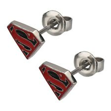 DC Comics Official License Stainless Steel Post Red Black Superman Earrings NIB